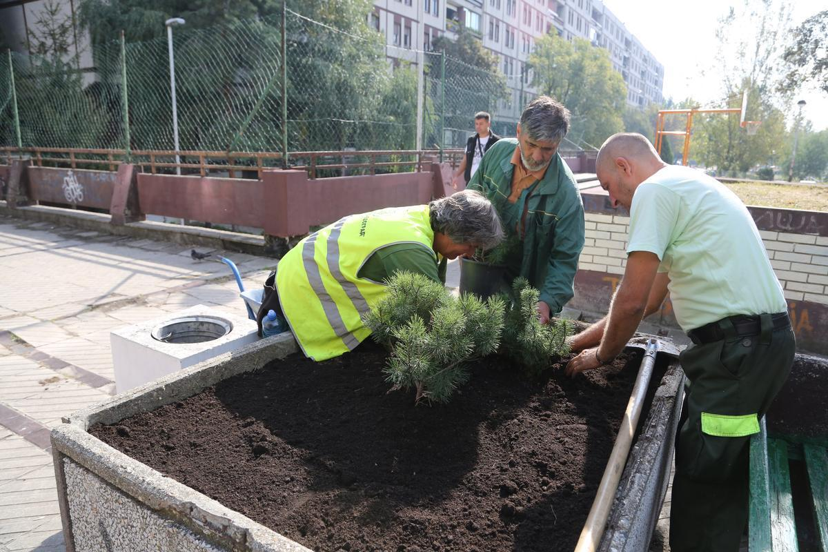"""Радна акција уређења и озелењавања Блока 19а у оквиру фестивала """"Мој лепи парк 2016""""."""